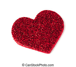 Red shiny hearts on white background Brocade made hearts