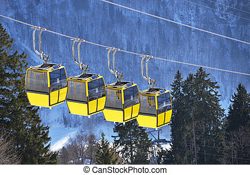Gondolas of cable road Switzerland