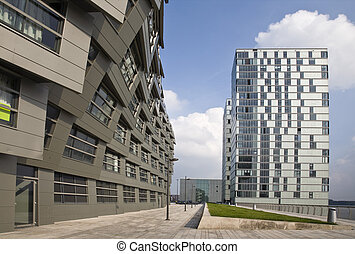 The Wave - The wavy facade surface of a modern building in...