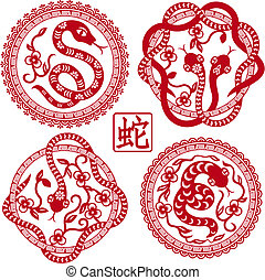 set of Chinese styled snakes as symbol of year of 2013 with...