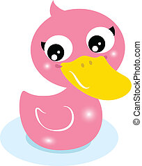 Cute little pink rubber duck isolated on white - Cartoon...