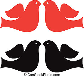 Valentine Doves silhouette set isolated on white - Simple...