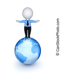 Small person studing on Earth - 3d small person stnding on...