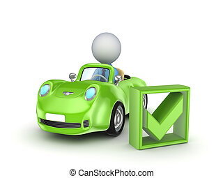 Small car and green tick markIsolated on white background3d...