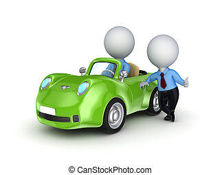 Small person selling the car. - 3d small person selling the...