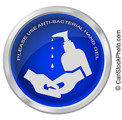 Anti bacterial hand gel button isolated on white background