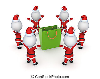 Santas around green packetIsolated on white background3d...