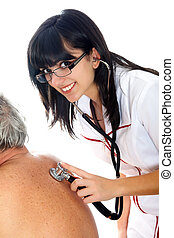 Senior Medical Exam - Smiling young woman with stethoscope...