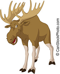 Elk - Vector image of big funny cartoon elk