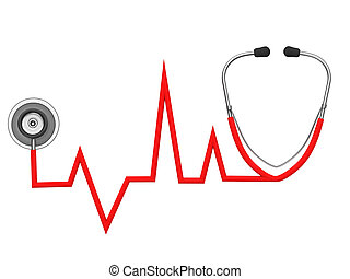 Stethoscope and ECG on a white background