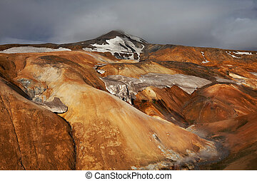 Thermal zone in Iceland - Fumarole field in Namafjall,...