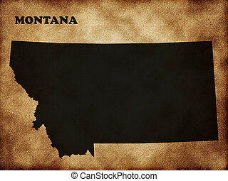 Map of Montana in the old style