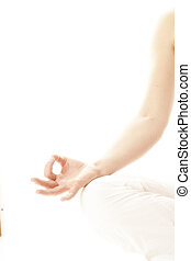 yoga hand isolated - Beautiful woman hands isolated on white...