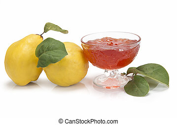 Quince jelly - Still life with quinces and quince jelly in a...
