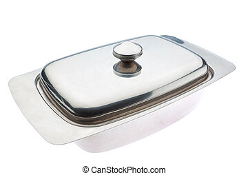 Butter dish close up. For butter. On a white background.