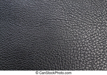 Black textured leather for textile sewing Close-up