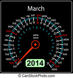 2014 year calendar speedometer car in vector March
