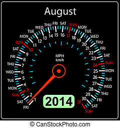 2014 year calendar speedometer car in vector August