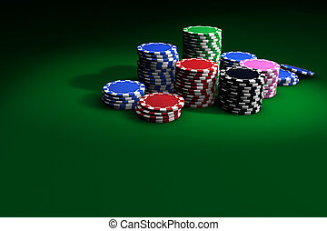 Poker Chips On Green Table