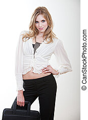 Young and beautiful blond caucasian businesswoman in her...