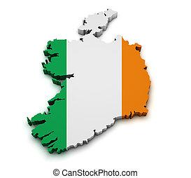 Ireland Flag Map Shape - Shape 3d of Ireland map with flag...
