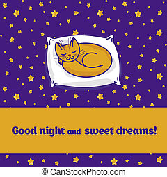 Card with cute little cat dreaming of fish - Card with cute...