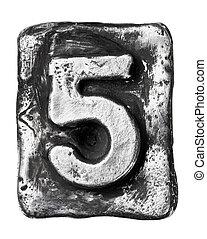 Metal letter - Metal alloy alphabet number 5
