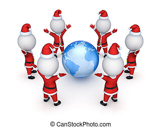 Santas around EarthIsolated on white background3d rendered...