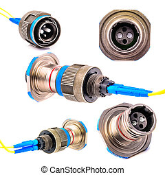 Connector for fiber optic cable. Photo Close-up