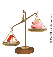 Choice - piggy bank and house on bowls of scales