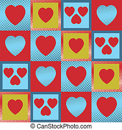 Hearts seamless - Multicolour vintage hearts as a seamless...