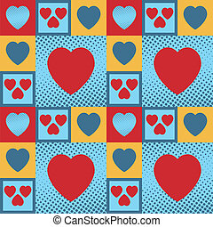 Hearts pattern - Multicolour vintage hearts as a seamless...