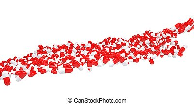 The flow of red and white pills