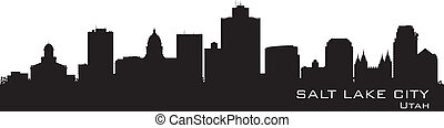 Salt Lake City, Utah skyline. Detailed city silhouette -...