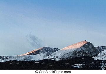 Breckenridge ski area at sunrise in the winter