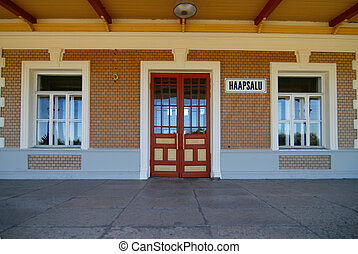 Station door - The door of old railway station in...