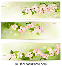 Three spring banners with blossoming tree brunch with spring...