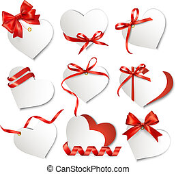 Set of beautiful gift cards with red gift bows and hearts...