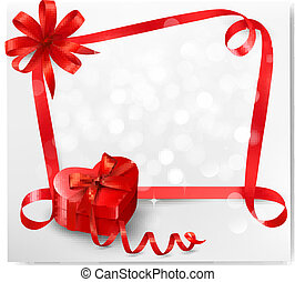 Holiday background with red heart-shaped gift box and ribbon. Vector illustration.