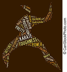 Karate pictogram on brown background - Karate pictogram with...