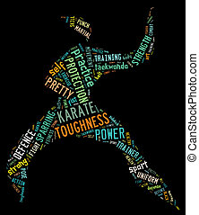 Karate pictogram with colorful words on black background -...