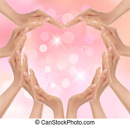 Hands making a heart. Valentine's day background. Vector illustration