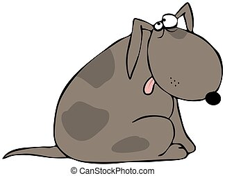 Ashamed dog - This illustration depicts a brown spotted dog...