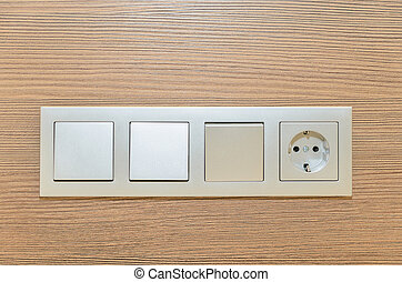 Several turn off lights and sockets. Photo Close-up