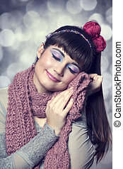 Brunette girl with scarf