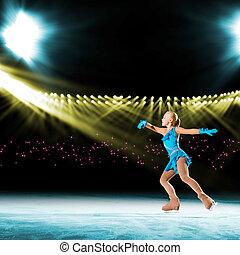 rendimiento, joven, patinadores, hielo, exposición