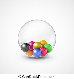 Colorful balls in transparent sphere. Eps 10