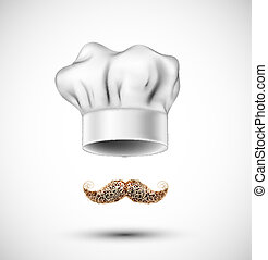 Accessories cook (hat and mustache). Eps 10