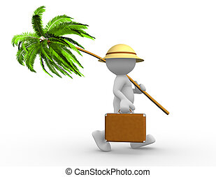 Palm - 3d people - man, person with a suitcase and a palm....