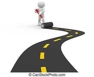 Paved road - 3d people - man, person with a roller and paved...